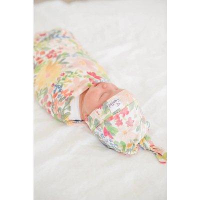 Copper Pearl newborn top knot hat - lark
