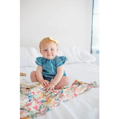 Copper Pearl knit swaddle blanket - lark