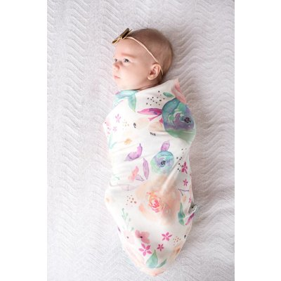 Copper Pearl knit swaddle blanket - bloom