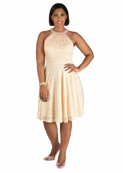 LILA-Lace Dress with Pearls Neckline