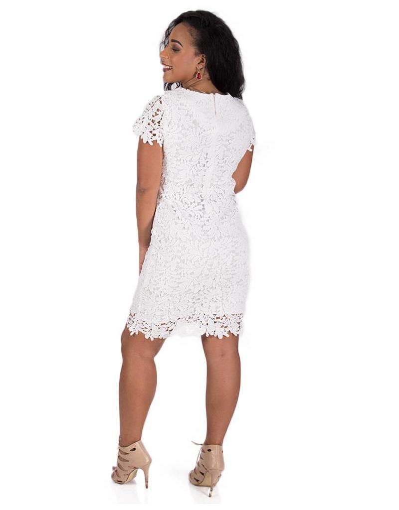 Short Sleeve Crochet Dress with  Cut-out Leaf