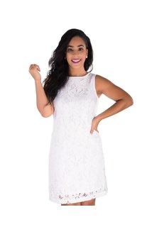 Pappagallo LEAH-Lace Floral Design Broad Strap Dress