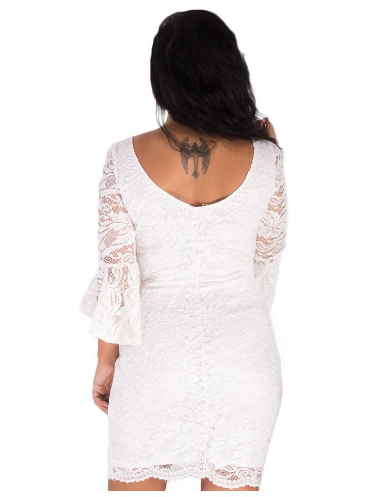 LAVINIA-3/4 Trumpet Sleeve Dress with Low Back