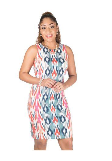 Printed ITY Round Neck Dress