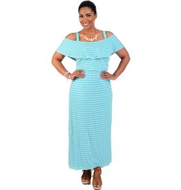 Signature Striped Cold Shoulder Maxi Dress