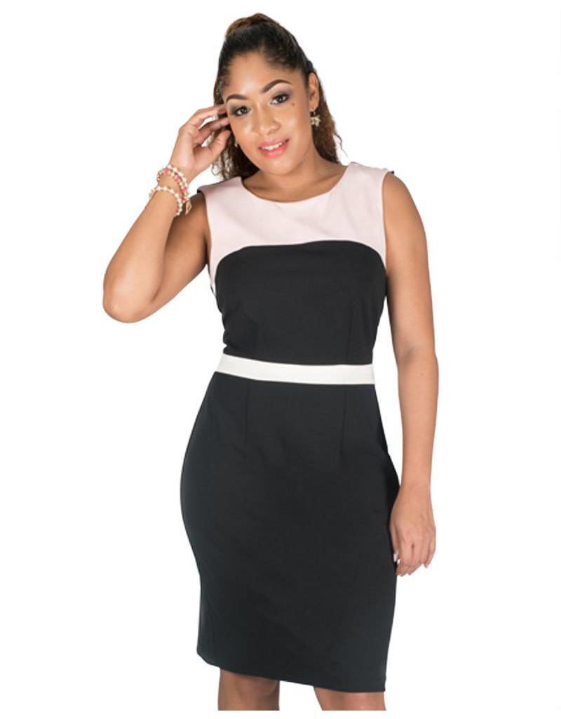 Broad Strap Color Block Dress
