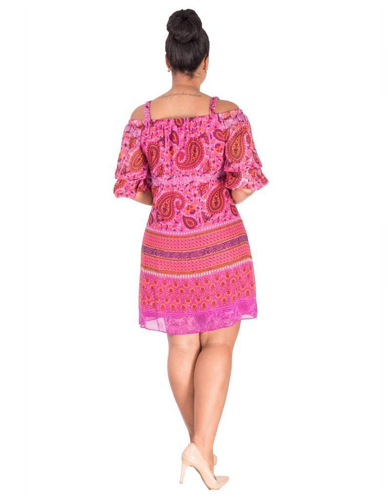 FEBE-Printed Off The Shoulder Dress