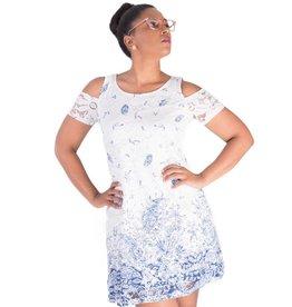 Signature LALITA-Paisley Print Lace Cold Shoulder Dress