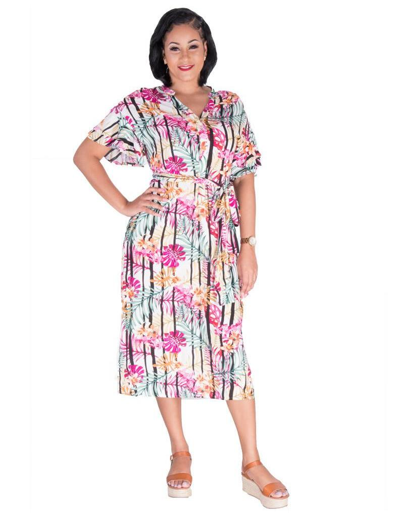 Nine West NAOMI-Printed Short Sleeve Shirt Dress