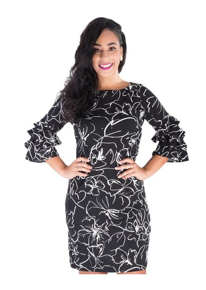 RIA-Printed Dress with Ruffled Three Quarter Sleeves