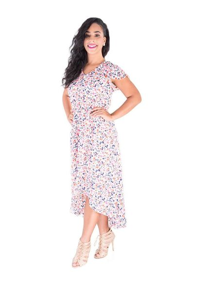 BE RILEY-Printed Cap Sleeve HI-LO Dress