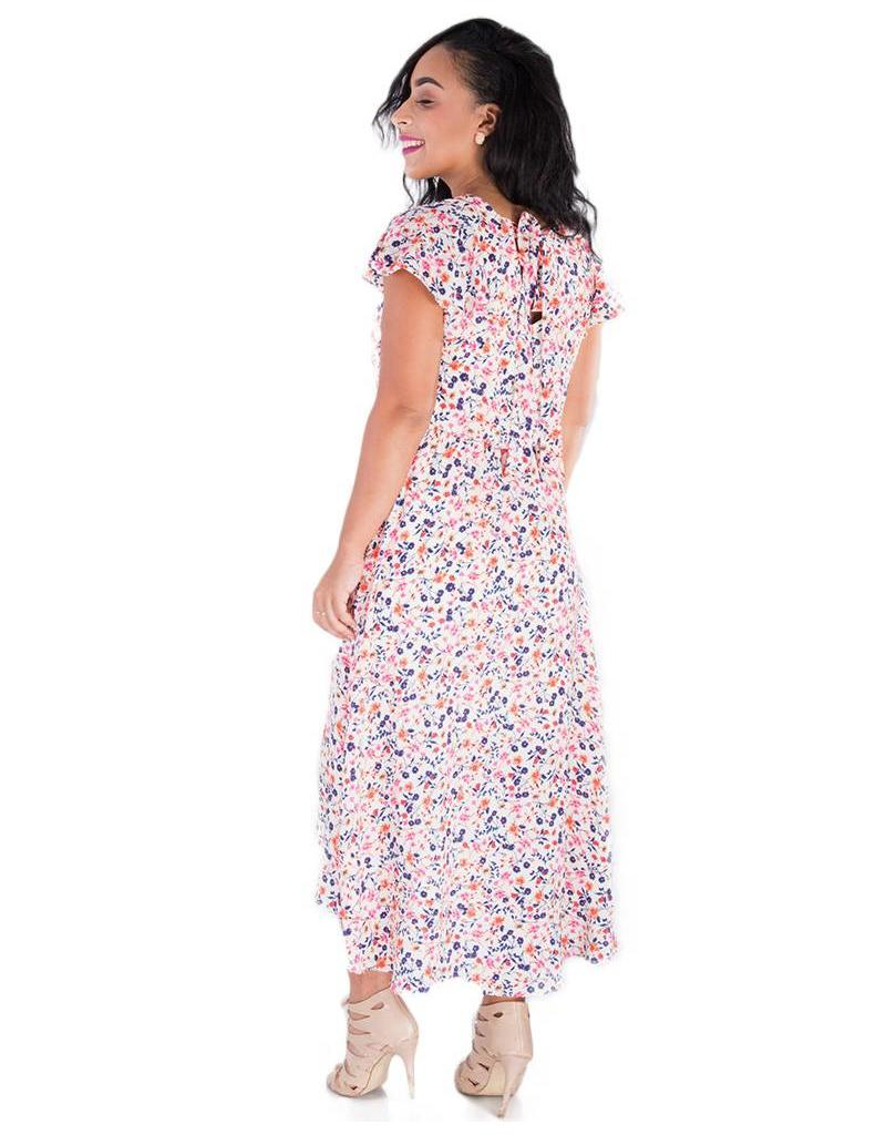 BE RILEY-Printed Cap Sleeve HI-LO Dress