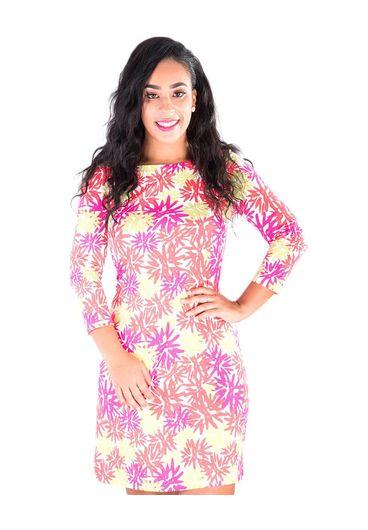 Pappagallo JAN-Printed Three Quarter Sleeve Dress