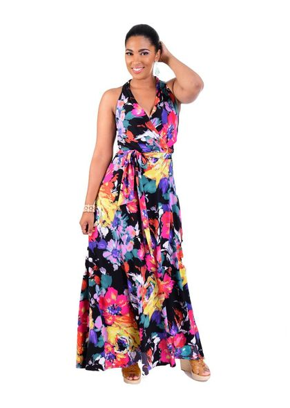 INDIRA-Printed Maxi Length Dress