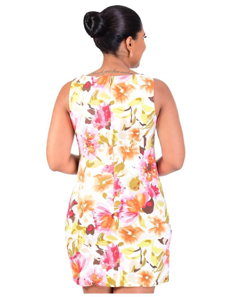 PATRICE-Printed Sleeveless Dress with Keyhole Accent