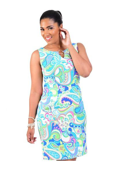 PETRA-Printed Sheath Dress with Key Hole Accent.