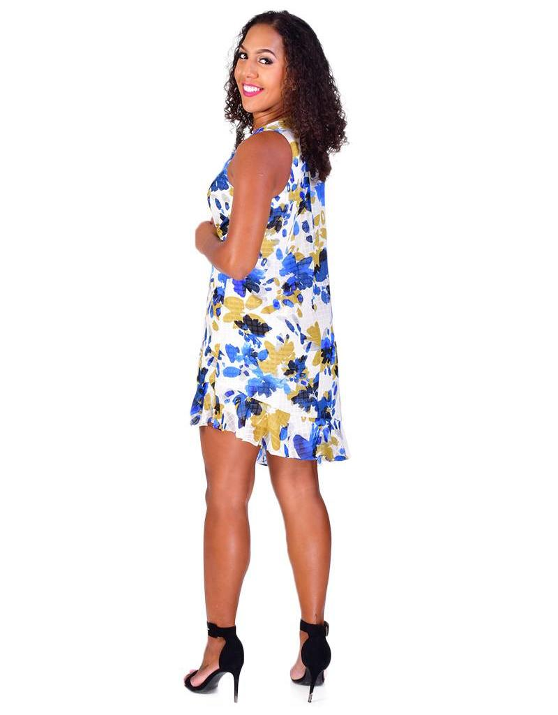 FAHIMA-Printed Dress with Ruffle Accents