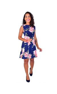 Shelby & Palmer IDALINA-Printed Cap Sleeve Faux Wrap Fit and Flare Dress