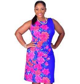 Shelby & Palmer ULRIKA-Plus Size Printed Sleeveless Dress