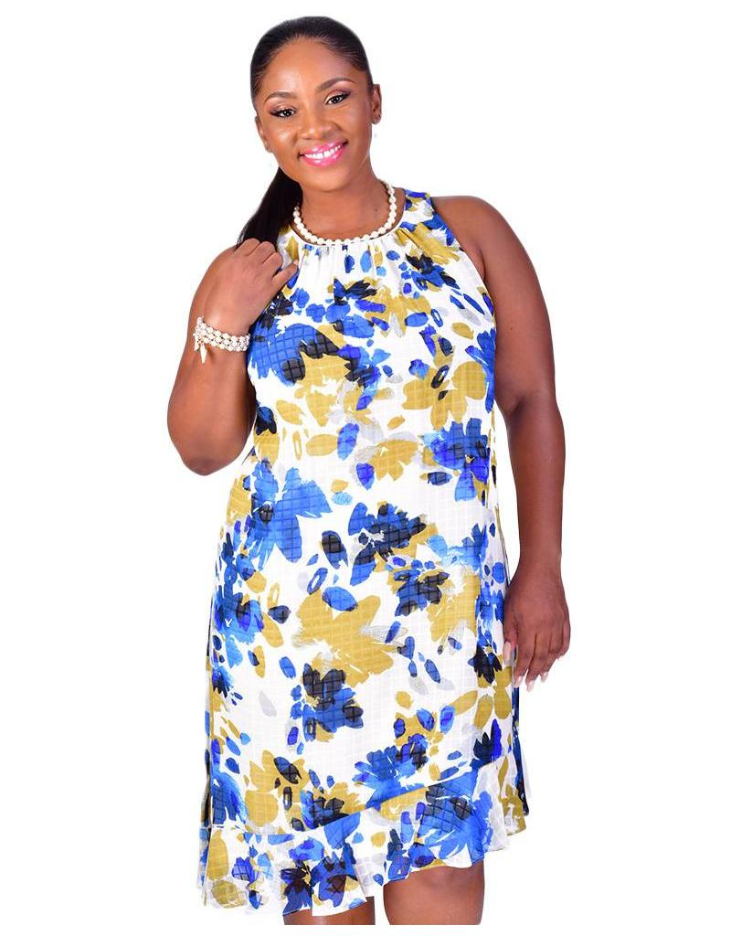 FAHIMA- Plus Size Printed Dress with Ruffle Accents