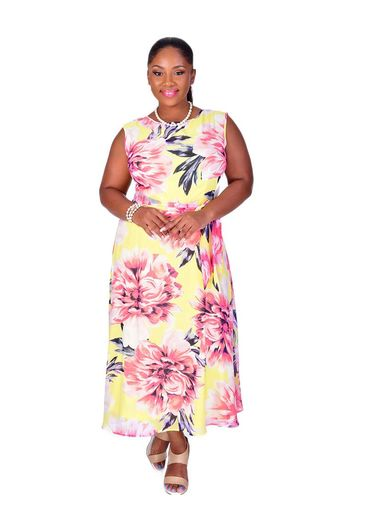 Shelby & Palmer FAYOLA-Plus Size Printed Fit and Flare Dress