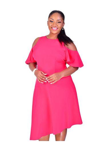 PASHA-Plus Size Cold Shoulder Shift Dress