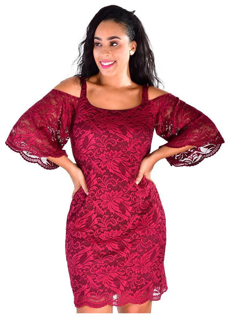 Signature LATOYA-Lace Overlay Cold Shoulder Dress