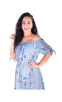 Nine West FEATHER-Printed Off the Shoulder High Low Dress