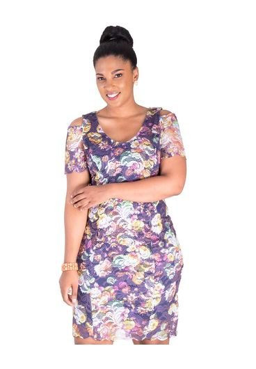 CAMIOLA-Printed Cold Shoulder Lace Dress