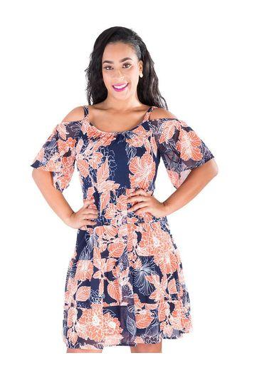 Signature MALI-Cold Shoulder Blouson Print Dress