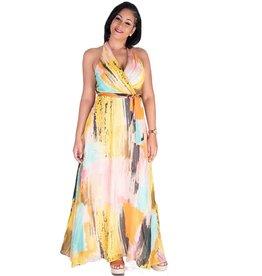 FARELI-Brushstroke Printed Maxi Dress