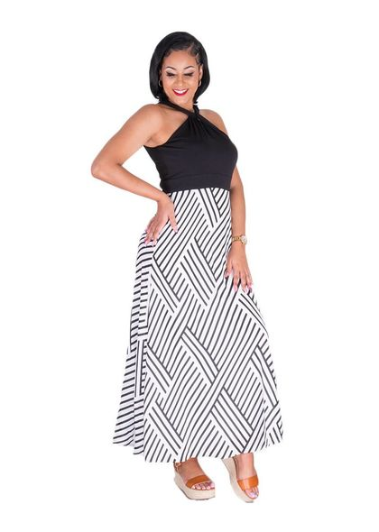 Sandra Darren FOLAMI-Halter Neck with Twist Maxi Dress