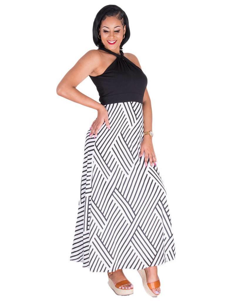 Sandra Darren FOLAMI-Halter Neck with Twist Maxi Dress