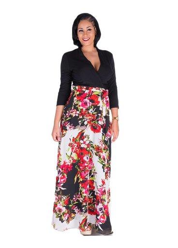 FAIRY-3/4 Sleeve Color Block Dress