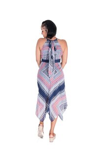 Sandra Darren FLOSSIE-Printed Halter Dress with Handkerchief Bottom