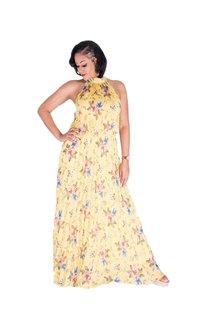 FABIA-Printed Halter Steam Pleated Dress