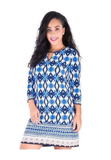 Sandra Darren RANA-3/4 Sleeve Puff Print Dress