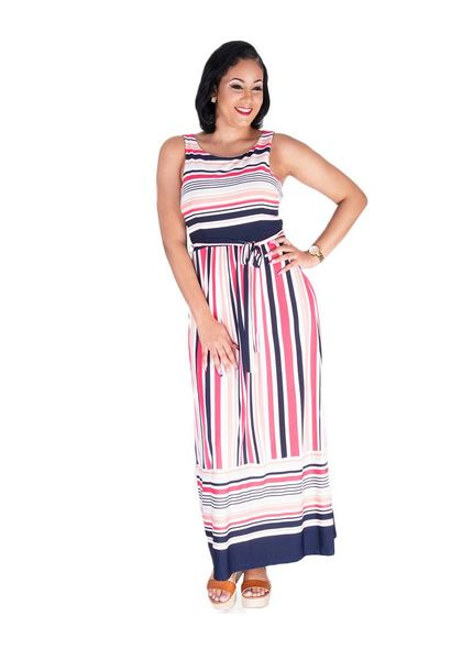 Sandra Darren YOSHI-Striped Printed Maxi Dress