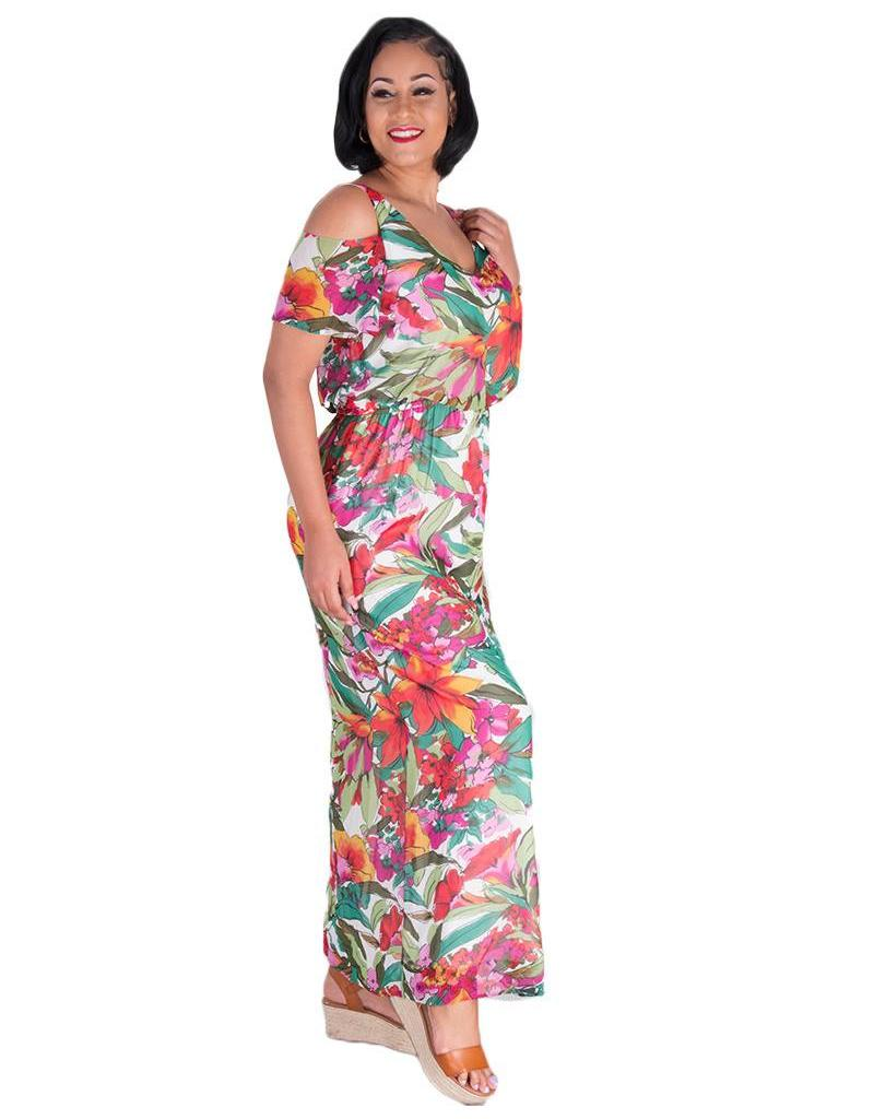 Nine West FALLON-Printed Cold Shoulder Maxi Dress
