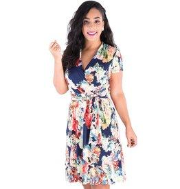 ILLIANNA-Printed Faux Wrap Dress