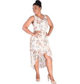 FABLE-Printed Halter Hi-Lo Flax Wrap Dress