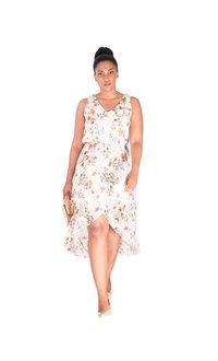 FABLE-Printed Halter Hi-Lo Fax Wrap Dress