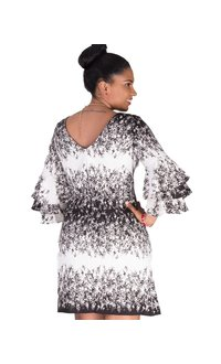 RENEE-Printed Three Quarter Sleeve Dress