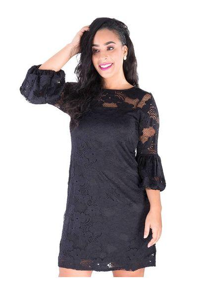LADONNA-Lace Overlay Three Quarter Sleeve Dress