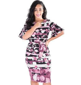 JAN- Printed Short Sleeve Dress with Sash