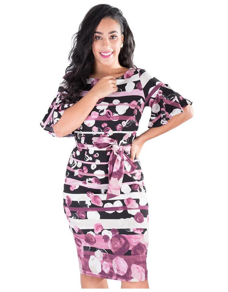 JAN- Printed Short Sleeve Dress with Sash