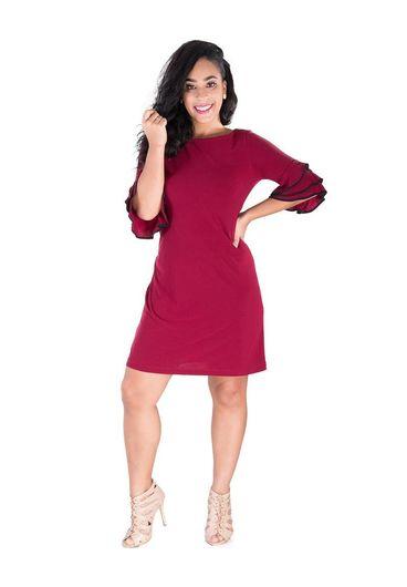 RAMANA-   Shift Dress with Three Quarter Sleeves
