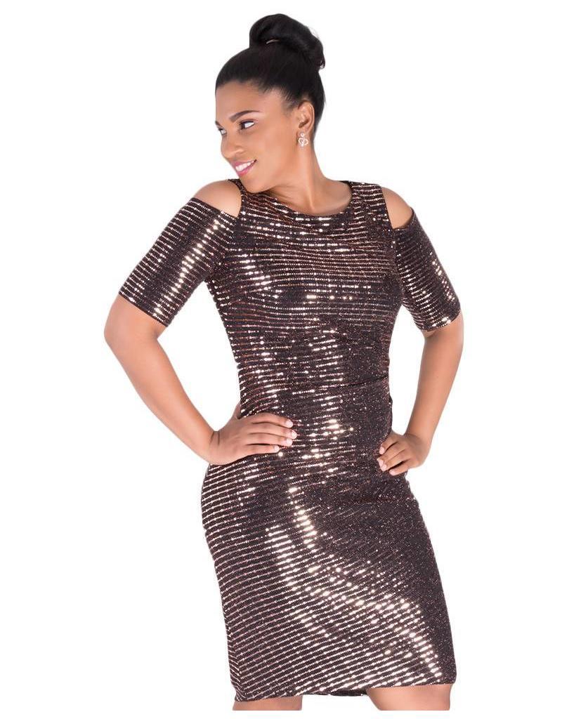 ILLUMINEE-Shimmery Cold Shoulder Dress