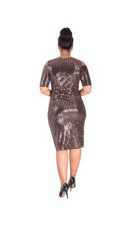 ILLUMINEE-Shimmery Cold Shoulder Dress