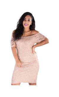 CACHET-Lace sequined Cap Sleeve Dress